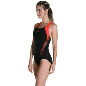 speedo Boom Splice Racerback Swimsuit Women Black/Hot Orange